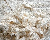 Vintage French trim, soft white trim, fringe trim, winter white trim, sewing supplies, craft supplies, French passementerie, 200cm length