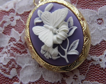 Kawaii Locket Purple Lavender & White Butterfly Cameo Ladies Silver Filegre art designer Necklace Pendant