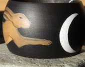 Hand painted Leapling hare  and crescent moon wooden bangle.