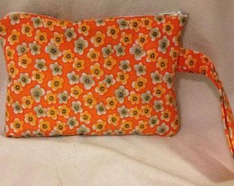 Orange Flower Wristlet