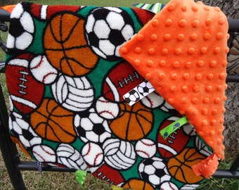Sports Balls Tag Security Blanket for Baby Boy with Orange Bubble Dot Minky