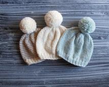 3! simple newborn pom pom hat set // brown striped white grey gender neutral baby beanies // baby shower gift idea // hand knit infant caps