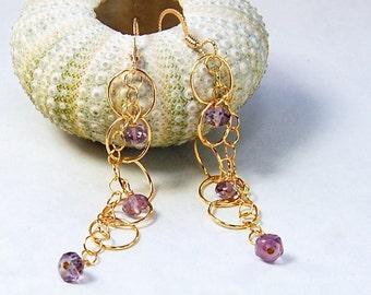 Amethyst Earrings | Long Delicate Earrings | Celebrity Jewelry