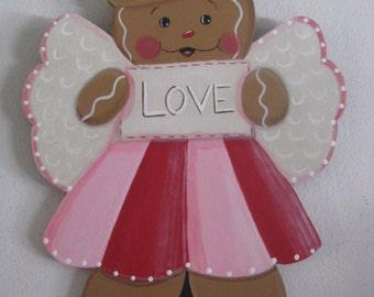 Valentine, angel, Love, wall hanging, handpainted, gingerbread