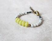 SALE 40% OFF - Kiwi Jasper + Jade Bracelet, Gemstone Bracelet, Chunky Bracelet, Layering Bracelet