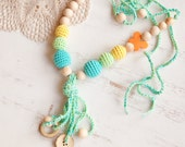 READY TO SHIP Fun Tassel Nursing Necklace   - Teething Necklace with a coconut buttons and ring  - Baby Carrier