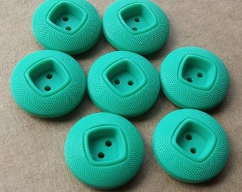 vintage mod nos jade green puffy buttons with square recessed centers--matching lot of 7