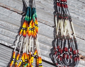 """Native American Inspired Design Porcupine Quill Earrings - """"Rain Forest"""" and """"Redstone Ore"""""""