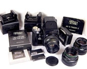 Zenza Bronica ETRSi Vintage Camera Lot - 3 Lens 3 Backs Speed Grip Prism Finder 120/220 Medium Format