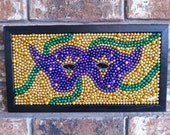 Mardi Gras, beads, mosaic, mask, Mardi Gras decor, purple, green, gold, New Orleans, colorful, vibrant, bayouland beads, framed art