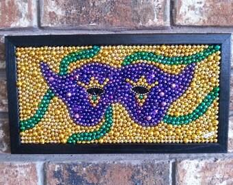 Mardi Gras, beads, mosaic, mask, Mardi Gras decor, purple, green, gold, New Orleans, colorful, vibrant, bayouland beads, framed art