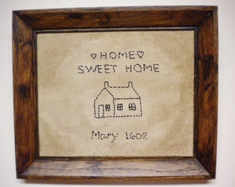 Primitive Stitchery, Framed Home Sweet Home Stitchery, Country Wall Decor