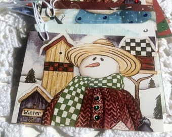 Snowman Gift Tags, Christmas Favor Labels, Holiday Gift Wrap, Upcycled Repurposed Tags - Set of 12