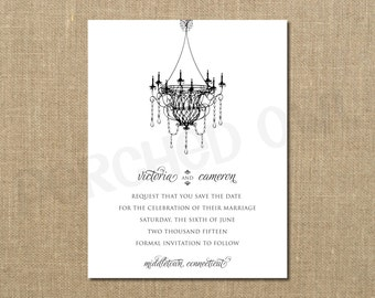 Chandelier Save the Date - Wedding Announcement - Vintage - Digital File