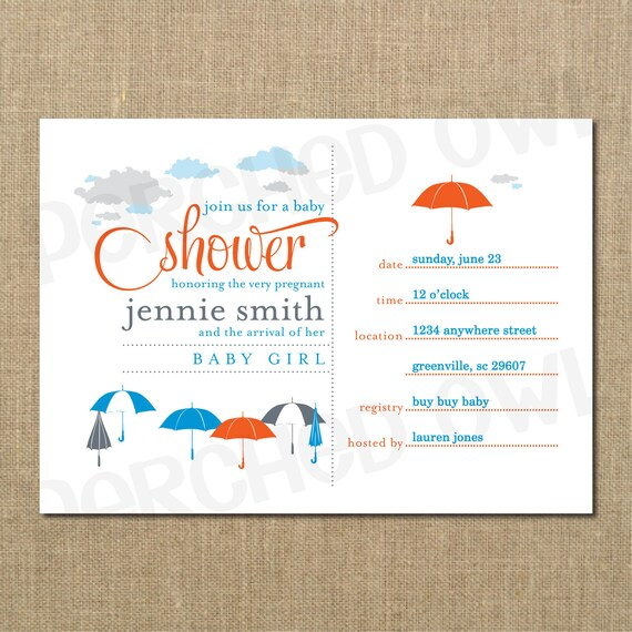 Umbrella Baby Shower Invitation - Boy - Baby Sprinkle - Announcement - Generic Theme - Digital File
