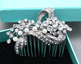 Bridal Hair Comb, Wedding Hair Comb, Freshwater Pearl Rhinestone Crystals Hair Comb, Vintage Style Ribbon Hair Accessory