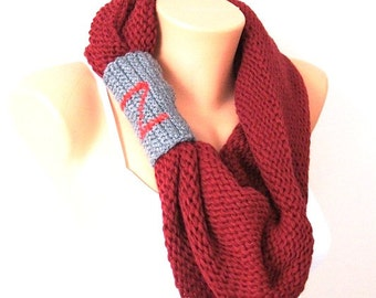 Personalized SCARF Personalized Burgundy Cape with hood, circle scarf, Cowl scarf, Scarf Neck Warmer