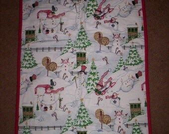 HAND QUILTED snowman wall hanging
