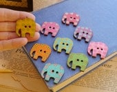 """SALE 10 pcs Large Wood Elephant Painted Mixed Assorted Patterns Animal Funky Retro Button 30mm 6/8"""" (WB2233)"""