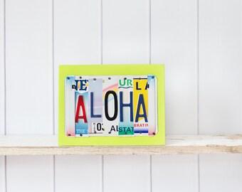 ALOHA Sign, Aloha art, Hawaii License Plate Art, Hawaii vacation souvenir, Hawaii wedding gift, travel Hawaii, Hawaii engagement gift