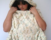 Eskim Hooded Chunky Cape Poncho  Super soft wool Cape Woman Cabled Hooded  Poncho New
