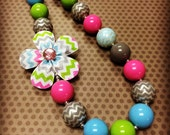 Multi-Color Chevron...Spring Chunky Bead Necklace...Necklaces...Childrens Jewelry...Chunky Beads...Jewelry...Girls Necklaces