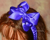 Any Color!  Satin Woven RoseyBow® Head Band w/ Large Twisted Boutique Bow - Flower Girl - Communion - Special Occasion Head Piece