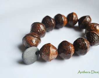 Natural jewelry, unique bracelet, acorn, organic jewelry, zen,yoga