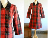 50's RED PLAID COAT - Double Breasted / Red and Black / Velvet Collar / Holiday / Fall / Winter / Mid Century / Retro / Size Medium