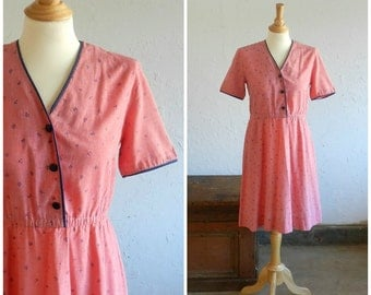 70's SALMON DAY DRESS - Boho / Sweet / Girly / Romantic / Size Medium