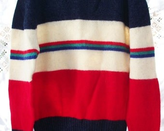 Wool Stripe Sweater ~ Authentic Vintage - Retro Classic  - Multi Primary Colors ~ Chaps Lauren