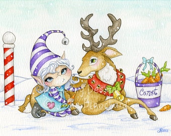 Christmas painting, Comet the reindeer and elf art, festive painting, big eye girl art, whimsical xmas art, archival fine art print