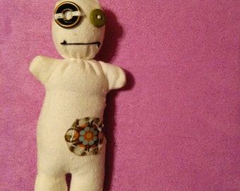 Hippy Flower Voodoo Plush Art Doll
