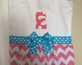 Pink and White Chevron Dance Bag with Light Blue Accents/ Ballet Bag/ Cheer Bag/ Tutu Bag/ Gymnastics Bag