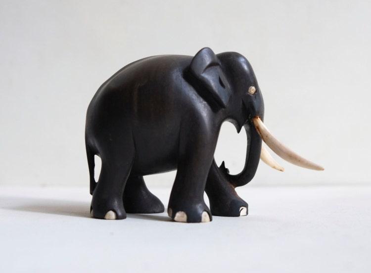 Hand Carved Ebony Wood Elephant Bone Tusks Small By Archivo