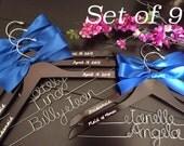 Set of 9--Personalized Hanger,  Custom Bridal Hangers,Bridesmaids gift, Wedding hangers with names,Custom made hangers