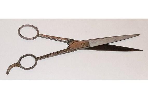 Vintage Barber Hair Scissors Shears Hammered Arts & Crafts