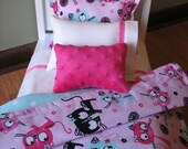 "Kitty Bedding Set for 18"" dolls - Pink / Aqua"