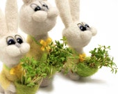 Felted bunny with sprouted greens - Easter home decor - felted animal