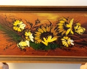 RESERVED for J Additional Shipping Cost Original Mid Century Sunflower Painting Oil On Hardboard
