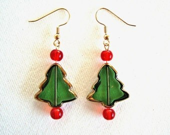 Red & Green Christmas Tree Earrings Handmade Glass Jewelry Stocking Stuffers Unique Jewelry Red Earrings Cute Gifts for Her