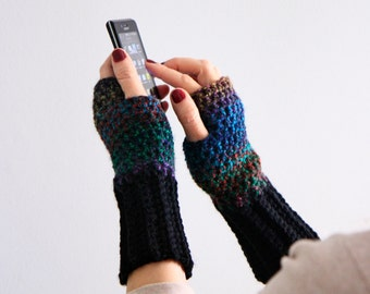Fingerless gloves in dark colors and black, Dianthe, wrist warmers winter fashion