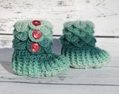 Teal Baby Booties, Crochet Crocodile Rainbow 0-6 Month Baby Boy Slipper Booties, Ready To Ship