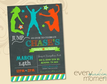 Trampoline Birthday Invitation -- Jump Party Birthday Invitation -- Bounce Party Birthday Invitation printable, personalized, print yourself
