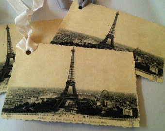 Vintage Eiffel Tower French Card/Tag...Paris Any Occasion