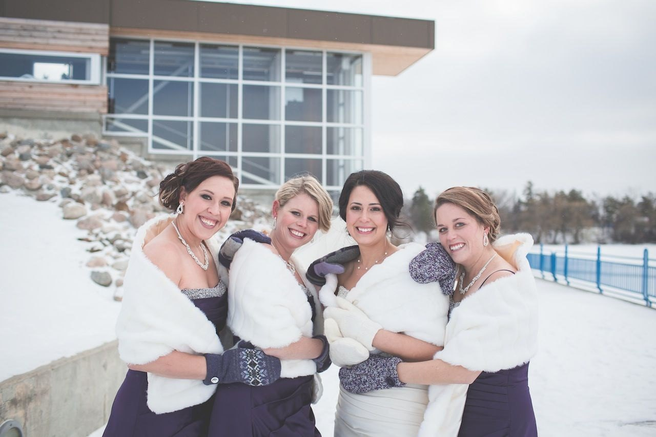 Bridal party furs 3 Bridesmaids and 1 bride faux fur shawls