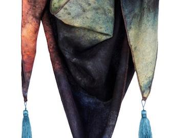 Hand died triangular scarf