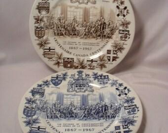Lot of 2 Centenaire Canada Centennial Collector Plates