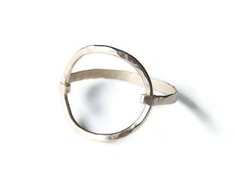 Hammered Large Circle Gold Filled or Sterling Ring - Gold Ring - Circle Ring