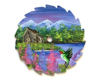 Miniature Saw Round Saw Magnet Mountain Summer Log Cabin and Hummingbird